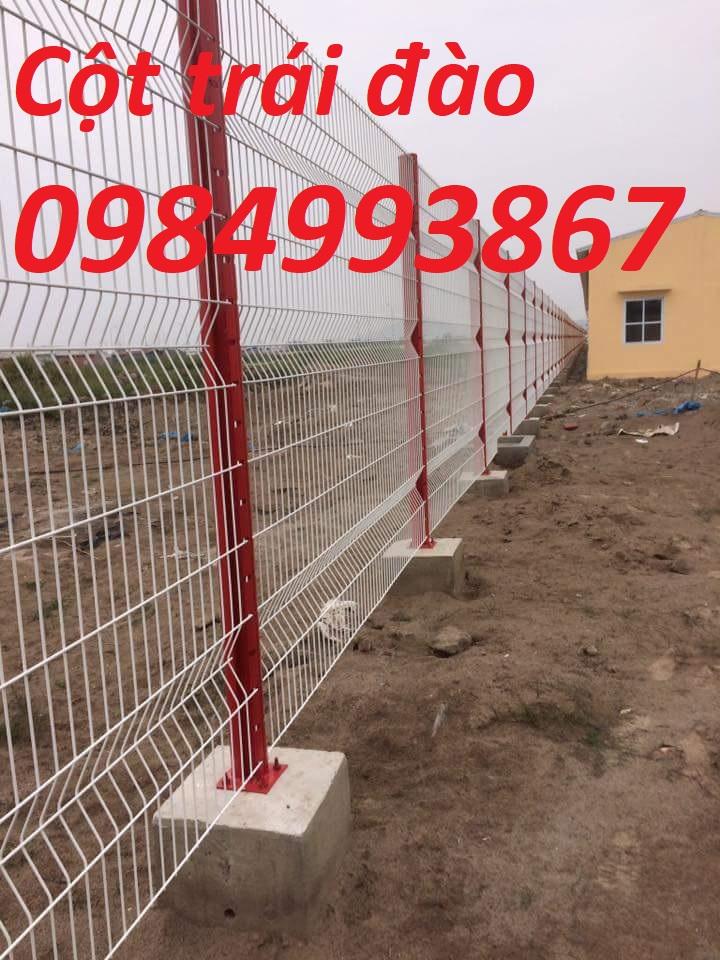 Lưới thép hàng rào mạ kẽm sơn tĩnh điện ,cột trái đào